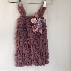Lace baby romper for photos